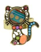 Shein Orange Beads Cute Cat Shape Rings