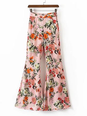 Shein Floral Print Zipper Side Flare Pants