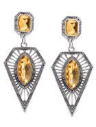 Shein Champagne Rhinestone Geometric Hollow Out Drop Earrings