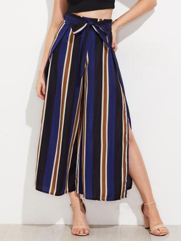 Shein Vertical Striped Split Side Wide Leg Pants