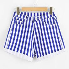 Shein Roll Up Hem Stripe Denim Shorts