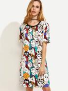 Shein Multicolor Cartoon Portrait Print Contrast Trim Tshirt Dress
