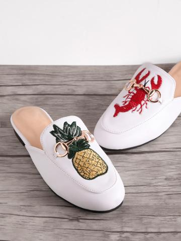 Shein Pineapple And Shrimp Embroidery Metal Detail Loafer Mules