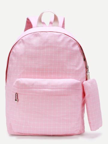 Shein Grid Pocket Front Canvas Backpack