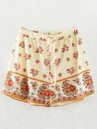 Shein Apricot Floral Drawstring Waist Shorts