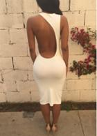 Rosewe Cutout Back Solid White Bodycon Dress