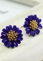 Shein Purple Bead Flower Stud Earrings