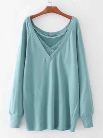 Shein Lace Insert Plunge Neckline Boyfriend Sweatshirt