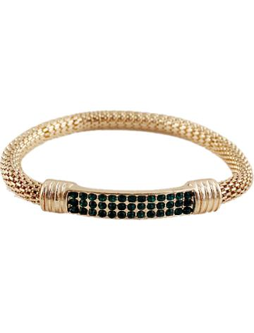 Shein Green Crystal Chain Bracelet