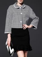 Shein Black Lapel Houndstooth Coat