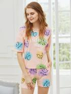Shein Smiley Face Print Tee And Shorts Pajama Set
