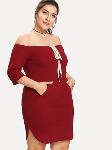 Shein Off The Shoulder Drawstring Knot Dress