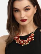 Shein Diamond Alloy Flower Statement Necklace