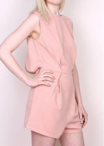 Rosewe Lovely Round Neck Sleeveless Pink Rompers With Lace