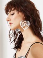 Shein White Hollow Out Heart Shape Drop Earrings