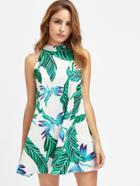 Shein Buttoned Keyhole Halter Neck Swing Tropical Dress