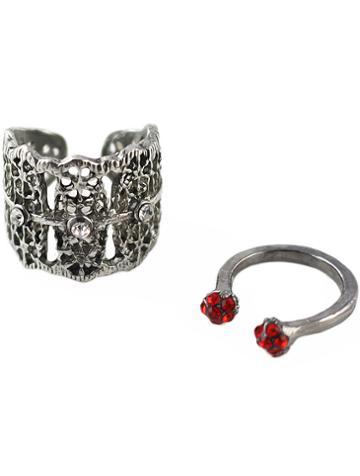Shein Retro Silver Diamond Hollow Two Pieces Ring
