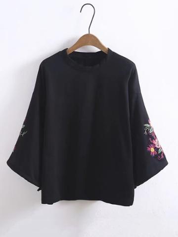 Shein Embroidered Flower Wide Sleeve Sweatshirt