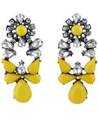 Shein Yellow White Drop Gemstone Silver Earrings