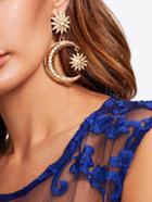 Shein Rhinestone Moon Drop Earrings