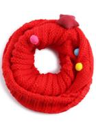 Shein Red Cable Ribbed Pom Pom Knit Infinity Scarf