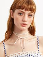 Shein White Heart Pendant Wrap Choker Necklace
