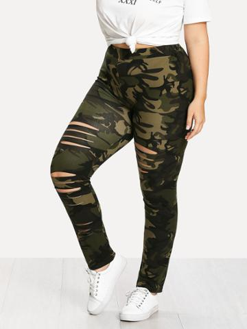 Shein Camouflage Ladder Ripped Legging