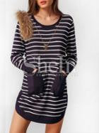 Shein Navy Striped Pockets Tshirt Dress