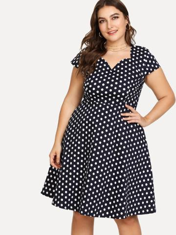 Shein Polka Dot Print Sweetheart Dress