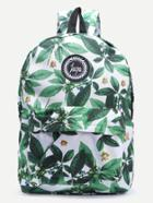 Shein Green Leaf Print Embroidered Canvas Backpack