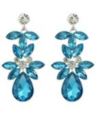Shein Blue Rhinestone Flower Drop Earrings