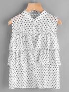 Shein Polka Dot Frill Tiered Blouse