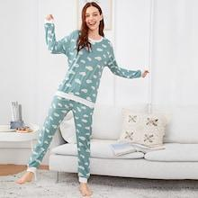 Shein Fish Print Pajama Set With Eye Mask