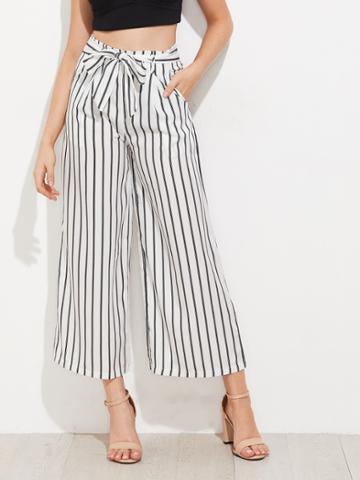Shein Vertical Striped Self Tie Wide Leg Pants