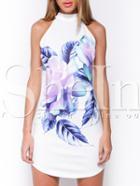 Shein White Sleeveless Flower Feather Print Dress