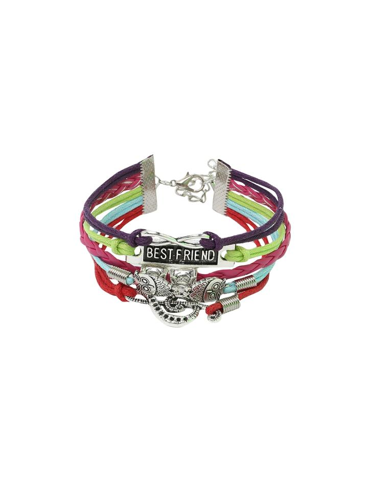 Shein Owl Charm Multicolor Braided Layered Bracelet