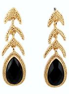 Shein Black Drop Gemstone Gold Fashion Earrings
