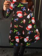 Shein Black Santa Claus Print Tshirt Dress
