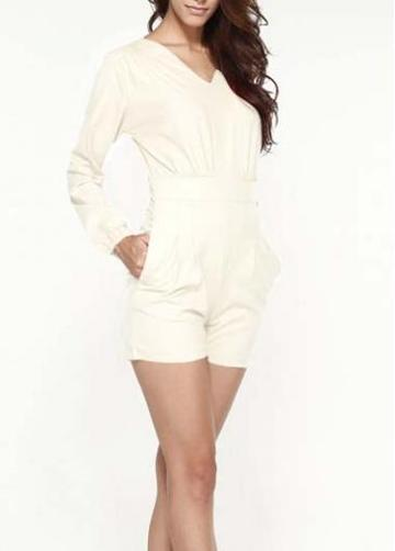 Rosewe Long Sleeve V Neck White Rompers For Woman