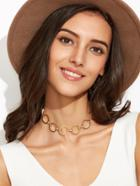 Shein Gold Plated Alloy Circle Hollow Out Choker Necklace