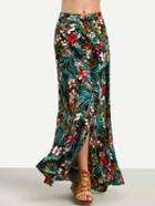 Shein Multicolor Floral Split Maxi Skirt