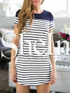 Shein White Striped Panel Long T-shirt
