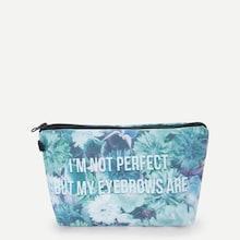 Shein Letter & Flower Print Makeup Bag