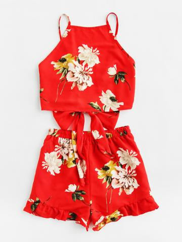Shein Tie Back Cami And Frilled Shorts Set