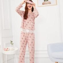 Shein Strawberry Print Lace Trim Pajama Set With Eye Mask
