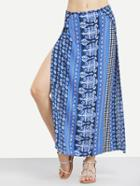 Shein Tribal Print High Slit Long Skirt