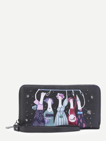 Shein Cartoon Print Pu Wallet With Studded