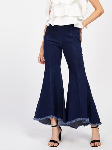 Shein Raw Hem Bell-bottoms Jeans