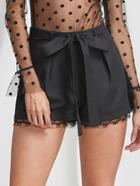 Shein Self Tie Lace Trim Tailored Shorts