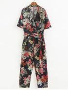 Shein Floral Print Jumpsuit With Self Tie